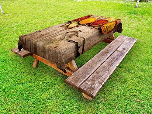 ABAKUHAUS Kruid Tafelkleed voor Buitengebruik, Saffron Kurkuma Cinnamon, Decoratief Wasbaar Tafelkleed voor Picknicktafel, 58 x 120 cm, Veelkleurig