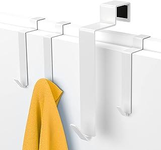Wieszak na tył drzwi MDCASA - Na drzwi z przylgą o wymiarach do 25 x 17 mm - 4 sztuki - Wieszak haczykowy - Uchwyt na ręcz...