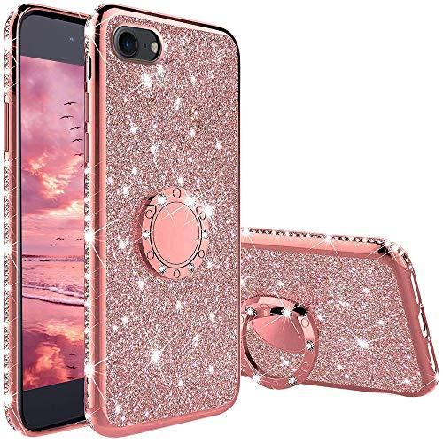 XTCASE Cover Glitter per iPhone 6 / 6s, Custodia Brillantini Diamanti con Supporto Girevole a 360 Gradi, Ultra Sottile Morbid TPU Silicone Antiurto Protettiva Case, Rosa