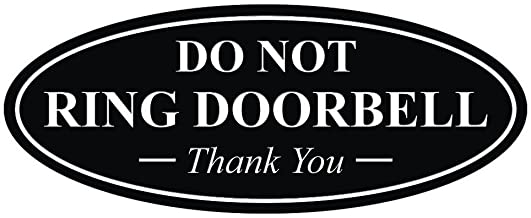 All Quality Oval DO NOT Ring DOORBELL Thank You Sign - Black Small