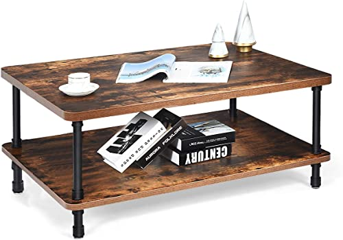 2021 Giantex Coffee Table Retro W/Thick Tabletop, Industrial high quality Steel Pipe Legs & 2-Tier Storage Shelf Accent Table online sale for Living Room, Reception Room, Easy Assembly Cocktail Table,Rustic Brown sale