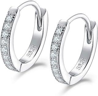 f14f1402b Dicheng Silver Hoops Earrings for Women, 925 Sterling Silver Huggie Hinged  Earrings with AAA Cubic