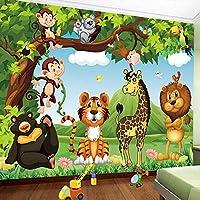 カスタム写真壁画壁紙3D漫画森動物世界子供キッズルーム寝室壁画壁紙ライオンタイガーモンキー, 300cm×210cm