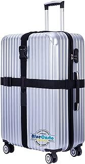 BlueCosto Long Cross Luggage Strap Suitcase Travel Belt Non-Slip Heavy Duty - Black