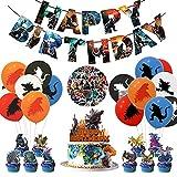 Cartoon Dinosaur Birthday Decorations Party Supplies Include Happy Birthday Banner, Balloons, Cupcake Toppers and Cake Topper Birthday Stickers for Kids Boys Adults