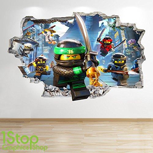 1Stop Graphics Shop Lego NINJAGO-Smashed - 3D WANDTATTOO FÜR KINDERZIMMER, Vinyl Z726 Size: Small