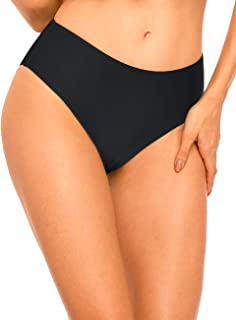 Hilor Women's High Waisted Bikini Bottom Solid Swimsuits Swim Briefs Classic Tankini Bottom Swim Shorts