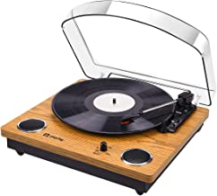 Record Player, Popsky Vintage Turntable 3-Speed Bluetooth Record Player with Speaker, Portable LP Vinyl Player, Vinyl-to-MP3 Recording, 3.5mm AUX & RCA Jack