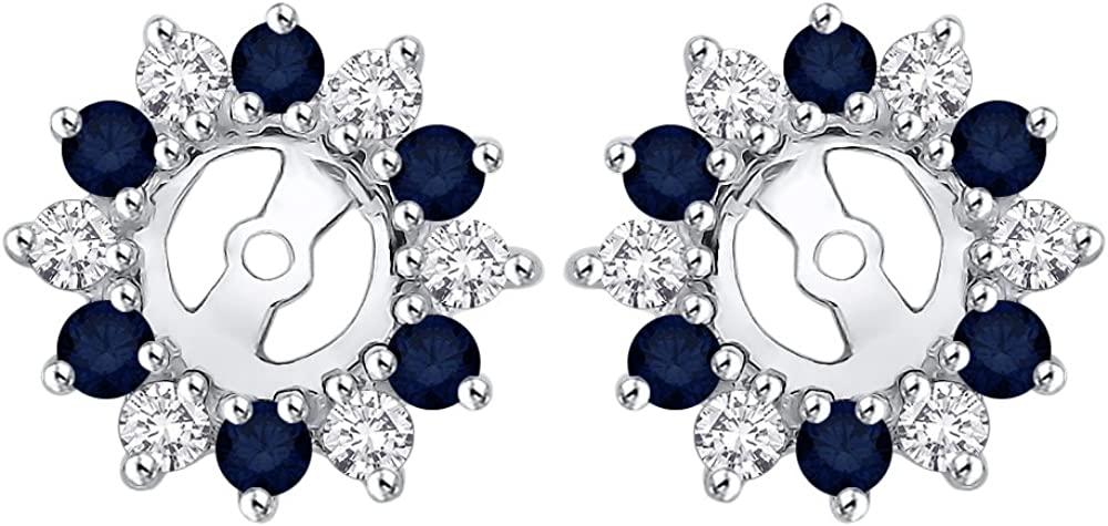 KATARINA Alternating Diamond with Sapphire Earring Jackets in 14K Gold (5/8 cttw) (Color JK, Clarity I2-I3)