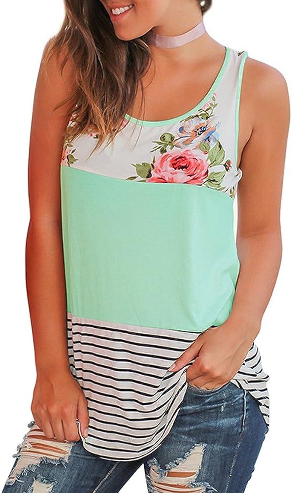 WFTBDREAM Women's Summer Sleeveless Floral Print Casual Tank Tops Shirts