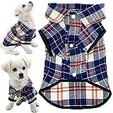 CJCSM Ropa para Mascotas, Camisa para Perros, Ropa para Cachorros, Ropa a Cuadros para Mascotas, Camiseta para Perros con cuadrícula de Polo, Trajes para Gatos pequeños y medianos, Gatito, Gatito