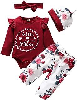 Arleysh Baby Girls Family Matching Clothing Set Little Big Sister Romper Shirt Tops+Gold Heart Long Pants Outfit Set