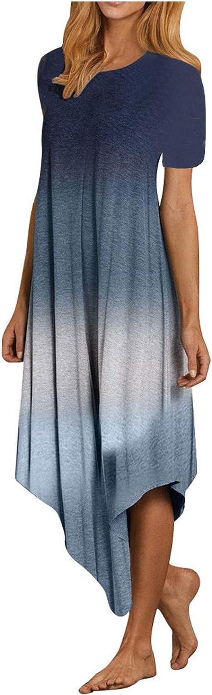 MYDANRAN Gradient Midi Dresses for Women Irregular Hem Fashion Casual Sleeveless Round Neck Pleated Summer Dress