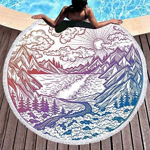 LCSD Toallas de playa redondas con impresión digital suave cojín de piscina de secado rápido absorbente chal con flecos laterales 150 x 150 cm