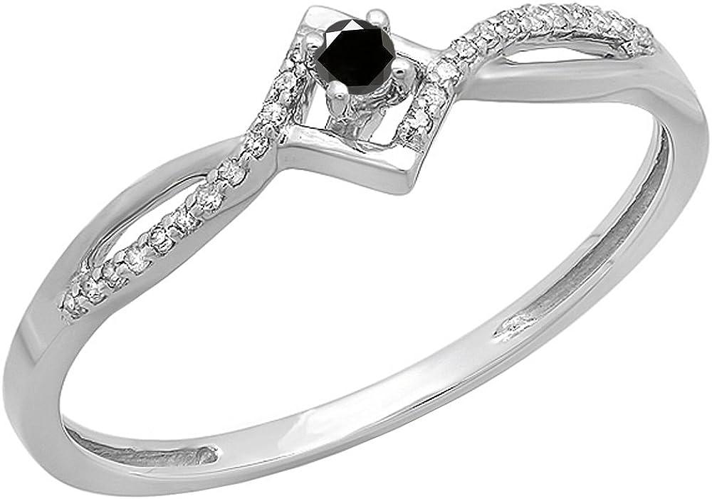 Dazzlingrock Collection 0.15 Carat (ctw) 10k Round Black And White Diamond Ladies Promise Engagement Ring, White Gold