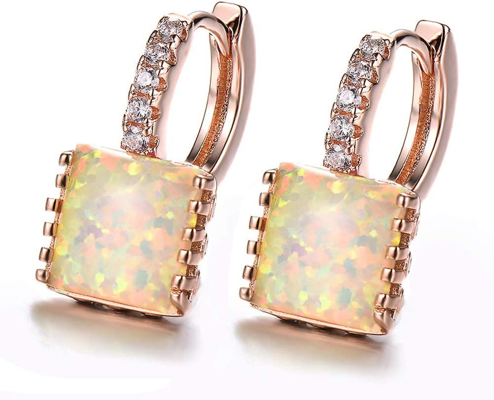JKLife Created Square Multiple-Color Gemstone Hoop Earrings Rose Gold Plated,Charm Fire Opal Buckle Earrings with Inlaid Sparkling Zircon Girls Teen Jewelry,White