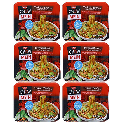 Chow Mein Noodles, Nissin Teriyaki Beef, 4 Oz - No Added MSG (6 Pack)