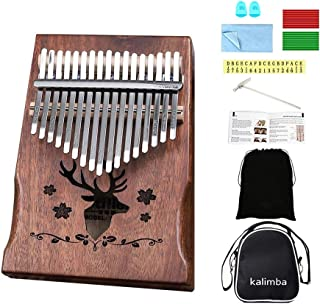 $34 Get Kalimba 17 keys Thumb Piano Solid Finger Piano with Zippered Carry Bag Study Instruction Tuning Hammer