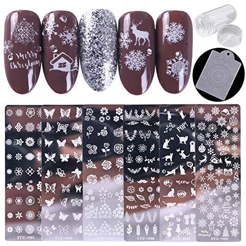 Tingbeauty Nail Stamping Plates Kit Sets 6pcs Nail Plate Template...