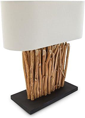 Relaxdays Lampe de table Style Moderne avec Abat-Jour tissu lin blanc E27 Bois blanc Beige 59 x 55 x 20 cm, couleur naturelle