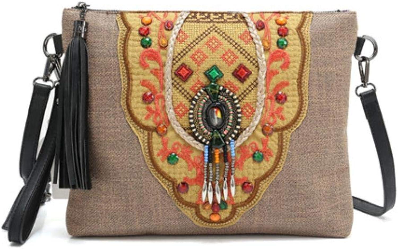 Women Shoulder Handbag Straw Fabric Handmade Embroidered Bohemian Crossbody bag