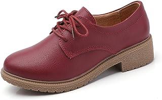 d5fca09a475 Sneerrt Zapatos Oxford de Mujer Zapatos de Cuero Genuino para señoras  Moccains Zapatos de tacón Plano