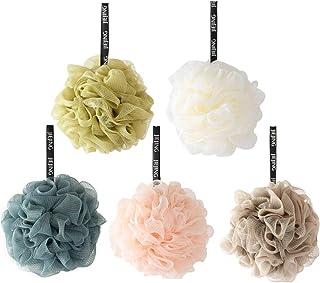 Cabilock 5pcs Bath Shower Sponge Cleaning Loofah Mesh Pouf Brush Ball Exfoliating Accessory