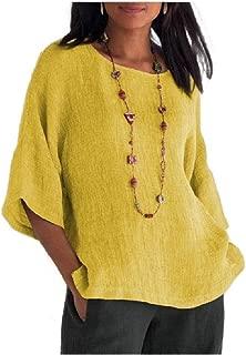 neveraway Women 3/4 Sleeve Crewneck Linen&Cotton T-Shirt Casual Blouse Top