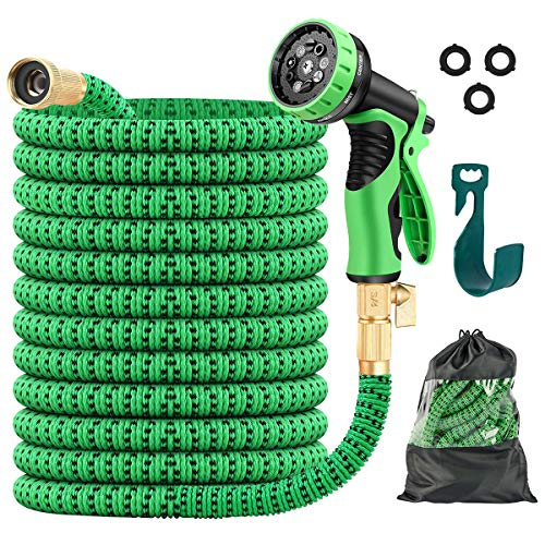 JSK Garden Hose 100FT - Kink Free Expandable Garden Hose with Superior Strength 3750D Fabric 3-Layers Latex Core 3/4 Inch Brass Connectors 9-Function Spray Nozzle Flexible Garden Water Hose
