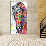 N / A Peinture à l'huile Affiche galopant Toile Peinture Impression Murale Art Toile Peinture Murale Toile pour Salon (Impression sans Cadre) B 40x80 CM