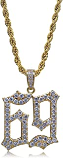 Micropave Simulated Diamond Iced Out 69 Pendant Necklace