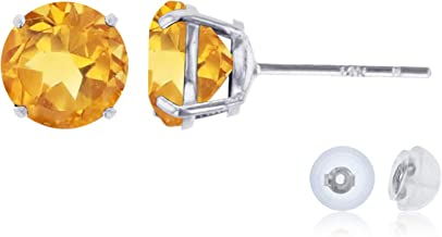 Solid 14K Yellow, White or Rose Gold 6mm Round Genuine Gemstone Birthstone Stud Earrings For Women and Girls