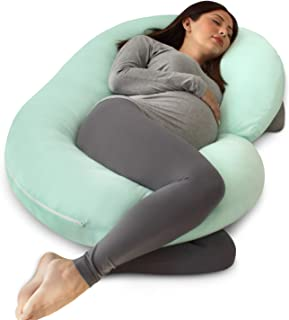 PharMeDoc Pregnancy Pillow with Jersey Cover, C Shaped Full Body Pillow - Mint Green