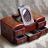 XYLUCKY Caja de madera hecha a mano rectangular del maquillaje - Dragón y caja de almacenaje de la joyería de Phoenix / espejo de la venda