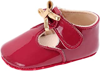 Weixinbuy Infant Baby Girl's Walking Shoe Princess Mary Jane Shoes with Bowknot