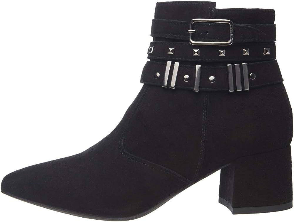 Nero giardini tronchetti stivali per donna in camoscio nero con cinturino di abbellimento e dettagli in metall A909440DE 100
