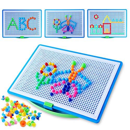 Colmanda Mosaicos Juego Educativo, 296Pcs Tablero de Mosaicos Infantiles, Puzzle 3D Tablero de Mosaico Infantiles, DIY Tablero de Mosaicos para Infantiles (A)