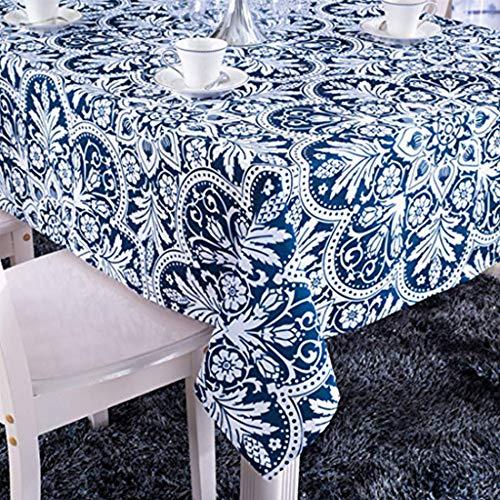 X-Labor Abwaschbar Tischdecke Eckig Wasserdicht Oxford Stoff Tischtuch Tischwäsche Pflegeleicht Garten Zimmer Tischdekoration Dunkelblau 140 * 240cm