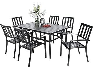 "PHI VILLA Outdoor Patio Set 7 Piece 60""x38"" Rectangular Dining Table and Chairs - Metal Slat"