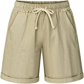 Vcansion Women's Drawstring Elastic Waist Shorts Plus Size Casual Shorts