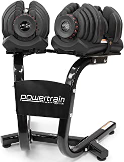 Pair Powertrain Adjustable Dumbbell Set with Stand - 80kg weights