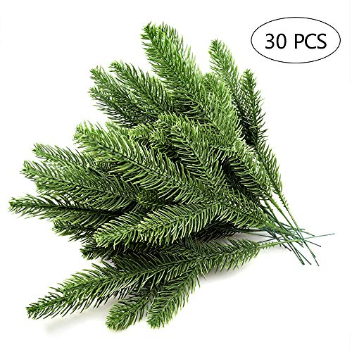 30pcs 10.24x3.94 Inches Artificial Pine Branches Green Leaves Needle Garland Green Plants Pine Needles for Garland Wreath Christmas Embellishing and Home Garden Decoration