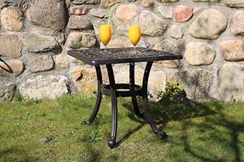 Made for us® Table de jardin en fonte d'aluminium - Table d'appoint d'extérieur - 54 x 54 cm - Hauteur : 47 cm - Table de balcon petite et carrée - Table basse en fonte d'aluminium résistante aux intempéries avec vernis AkzoNobel résistant aux UV.