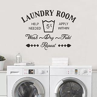 decalmile Laundry Room Stickers Muraux Citation et Lettres Amovible Autocollant Stickers pour Buanderie Salle de Bains