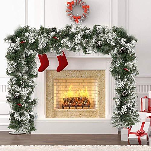 Guirnalda navideña de 1,8 m/6 pies, decoración de glaciar helada de nieve, cono de pino verde, guirnalda festiva de Navidad para puertas, escaleras, chimeneas, patio, decoración de árboles de Navid