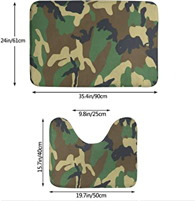 Dreamfy Camouflage Camo Wolf Cool Home 2 Piece Memory Foam Flannel Bathroom Rugs Set Bath Contour Mat Toilet Cover Non-Slip with Rubber Backing