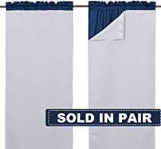 """NICETOWN White Blackout Curtain Liners for Window - Noise Reducing Light Blocking Liner for 84 inch Curtains (Set of 2, Each is 27"""" x 80"""", Hooks Included, Greyish White)"""