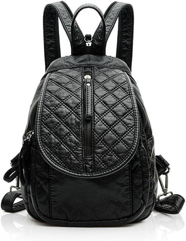 AFCITY-bag Damen Rucksack, Frauen Rucksack Schultasche Reiverschluss Wasserdicht PU Daypack Lssige Reise Outdoor-Shopping (Farbe  Schwarz) Für Jugendlich Mdchen