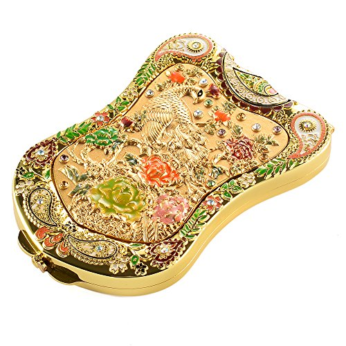 Jinvun Antique-Like Gold Peacock Compact Mirror: Durable Travel Purse Makeup Mirror With Luxury Vintage Design, Shield Shape, Magnification & Clear Reflection-Unique Jewellery Gift
