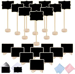 Jekkis 20 Packs Mini Wooden Chalkboard Signs with Stand, 2 Styles Small Tabletop Message Board Signs with Easel for Party Food Signs